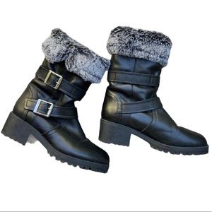 Zara Basic Collection faux fur leather boots 8